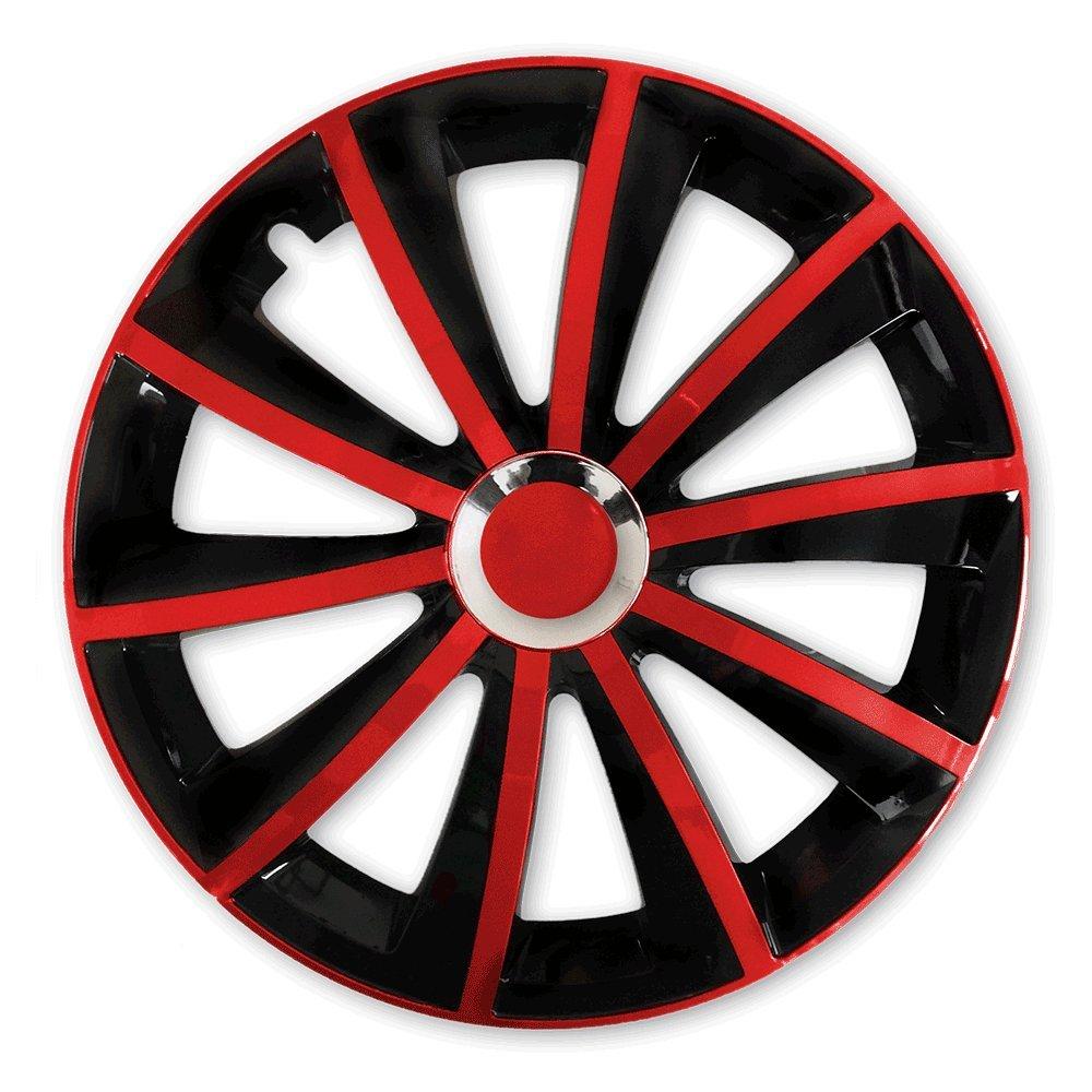 Farbe und Größe wählbar) 15 Zoll Radkappen GRAL Bicolor (Schwarz-Rot ...