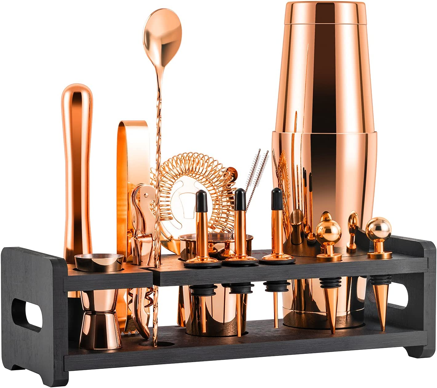 Soing 24-Piece Cocktail Shaker Set,Perfect Home Bartender Kit for Drink Mixing,Stainless Steel Bar Tools With Stand,Velvet Carry Bag & Recipes Cards Included (Rose Copper)
