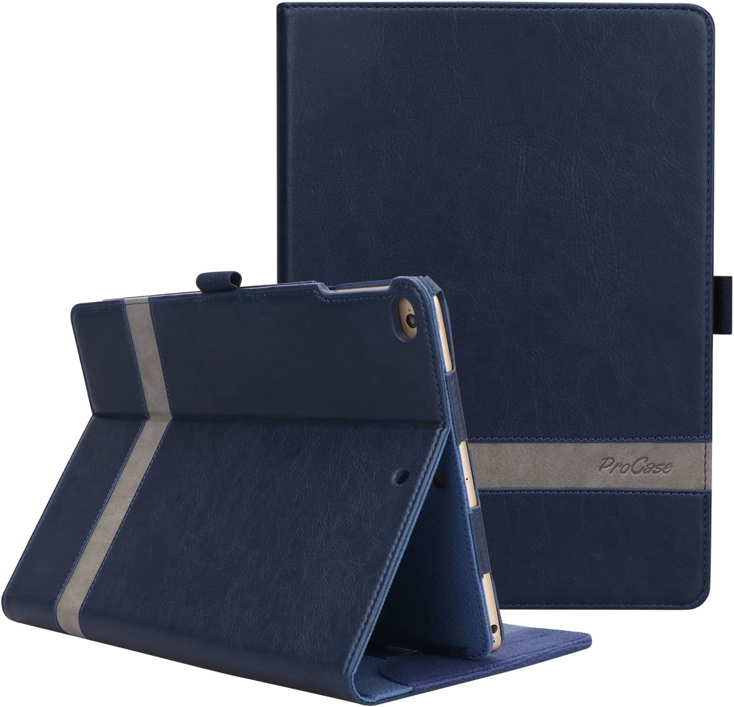 ProCase iPad 9.7 (Old Model) 6th 2018 / 5th 2017, iPad Air 2, iPad Air Case - Leather Stand Folio Cover Case with Multi-Angle Viewing for iPad 9.7 inch, Also Fit iPad Air 2 / iPad Air -Navy