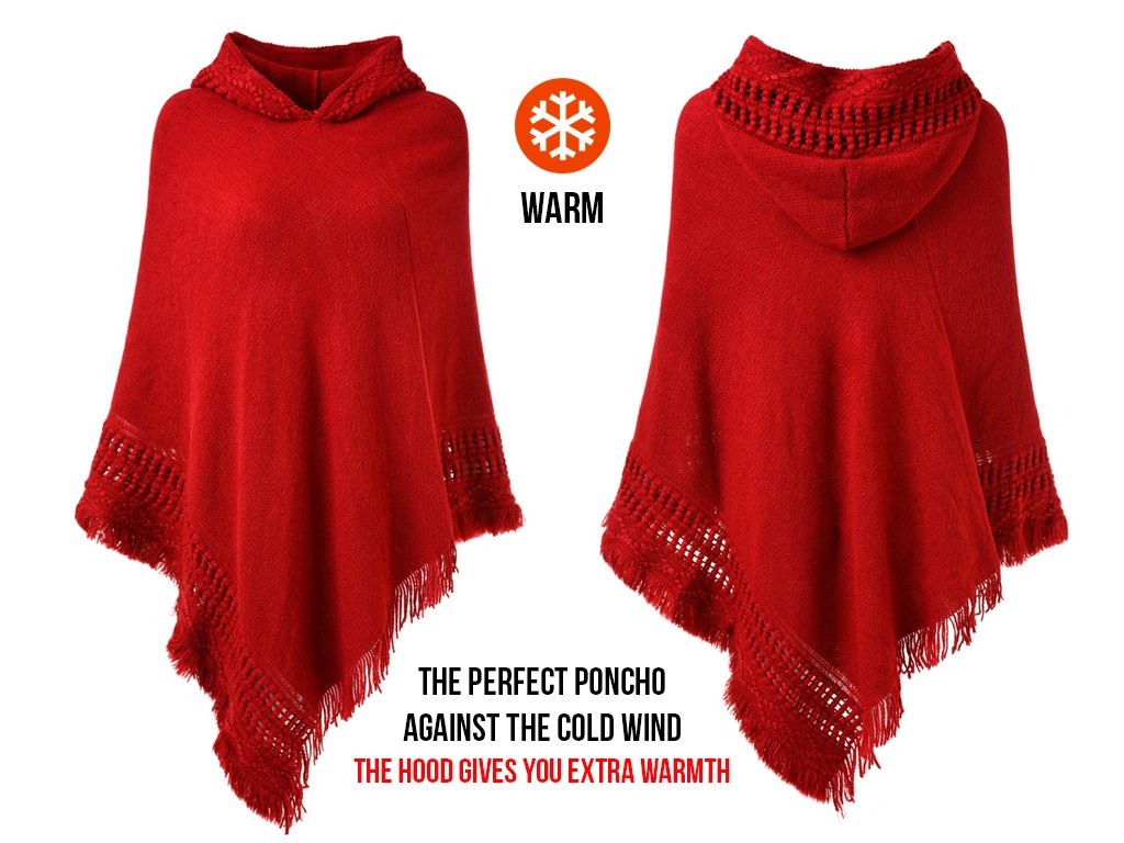 Ferand Ladies' Hooded Cape with Fringed Hem, Crochet Poncho Knitting Patterns for Women, Red by Ferand (Image #3)