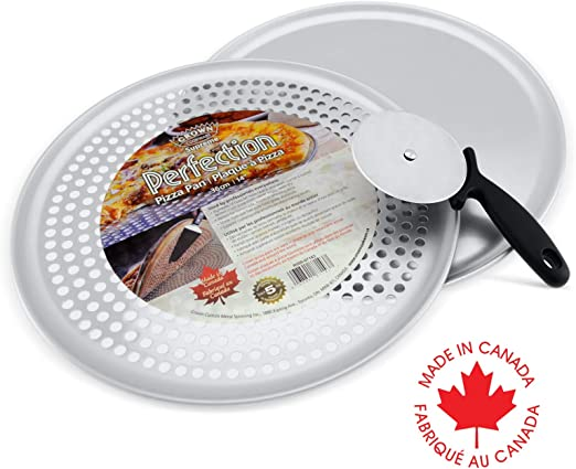 Crown 3 Piece Pizza Pan Set Pizza Pan 14 Inch Pizza Tray Pizza Wheel Cutter Pizza Pan With Holes Bake Perfectly Crispy Pizza Extra Sturdy Pure