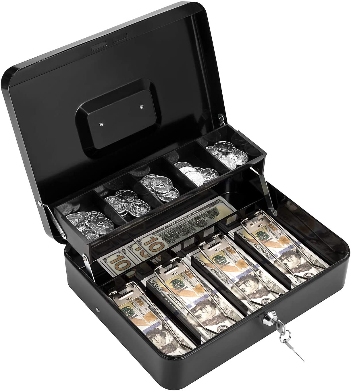 """Cash Box with Lock Key and Money Tray Large Metal Money Safe for Cash 11.8"""" x 9.4"""" x 3.54"""" Black"""