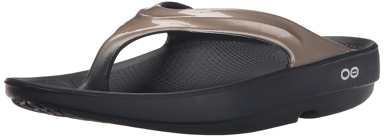 Black Latte OOFOS Women's OOlala Thong Flip Flop