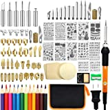 110 PCS Wood Burning Kit, Wood Tool with Adjustable On-Off Switch Control Temperature 200~450℃ Professional Wood Burning Pen and DIY Various Wooden Kits Carving/Embossing/Soldering Tips