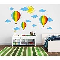TilkiDünyası Renkli Uçan Balonlar, Bulutlar, Güneş Çocuk Odası Duvar Sticker