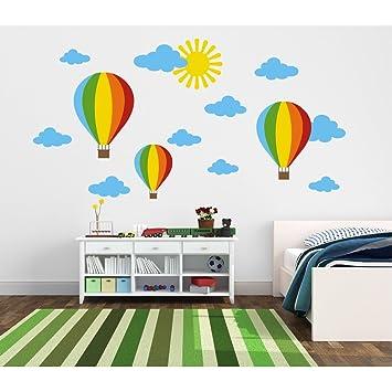 Tilkidünyası Renkli Uçan Balonlar Bulutlar Güneş çocuk Odası Duvar