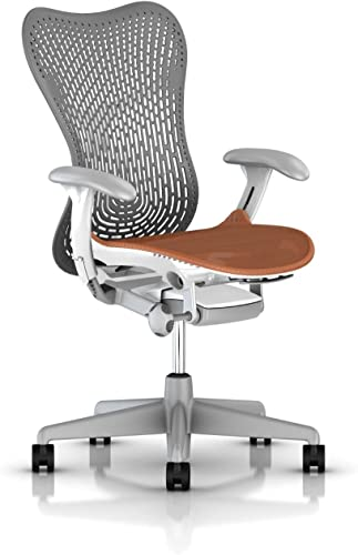 Herman Miller Mirra 2 Ergonomic Office Chair with Tilt Limiter and Fixed TriFlex Back Support Adjustable Seat Depth, Lumbar Support, and Arms with Carpet Casters Slate Grey Urban Orange