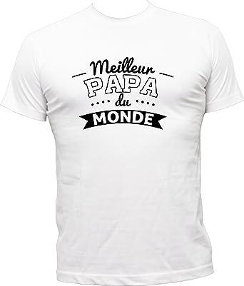 Boutique KKO T-Shirt Humoristique Papa du Monde  Amazon.fr  Vêtements et  accessoires a69fa16216c1