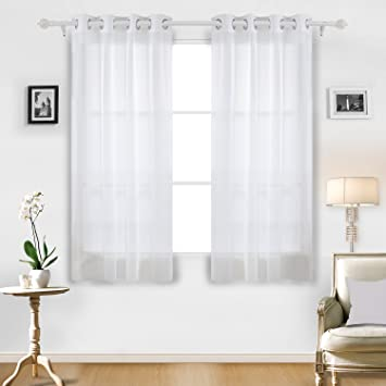 Deconovo Home Decorations Sheer White Curtains Grommet Voile Delicate For Dining Room