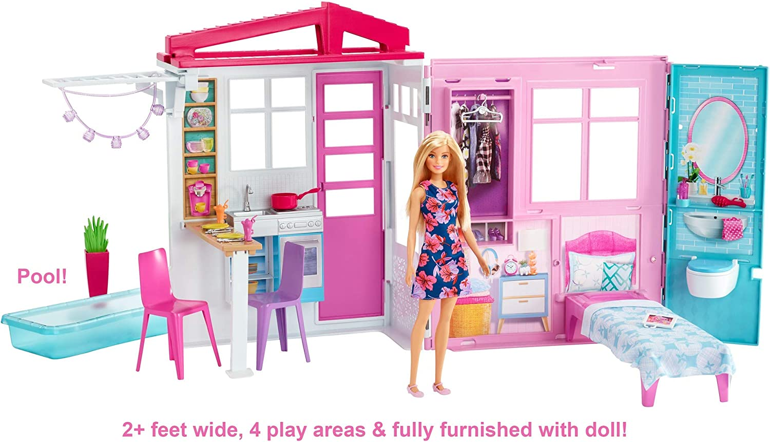 Amazon Com Barbie Doll And Dollhouse Portable 1 Story Playset With Pool And Accessories For 3 To 7 Year Olds Toys Games