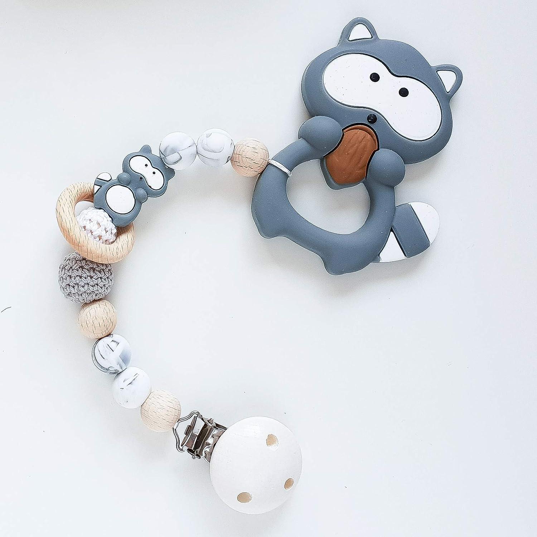 Beißkette Waschbär in Mamor und Grau Zahnungshilfe für Babys