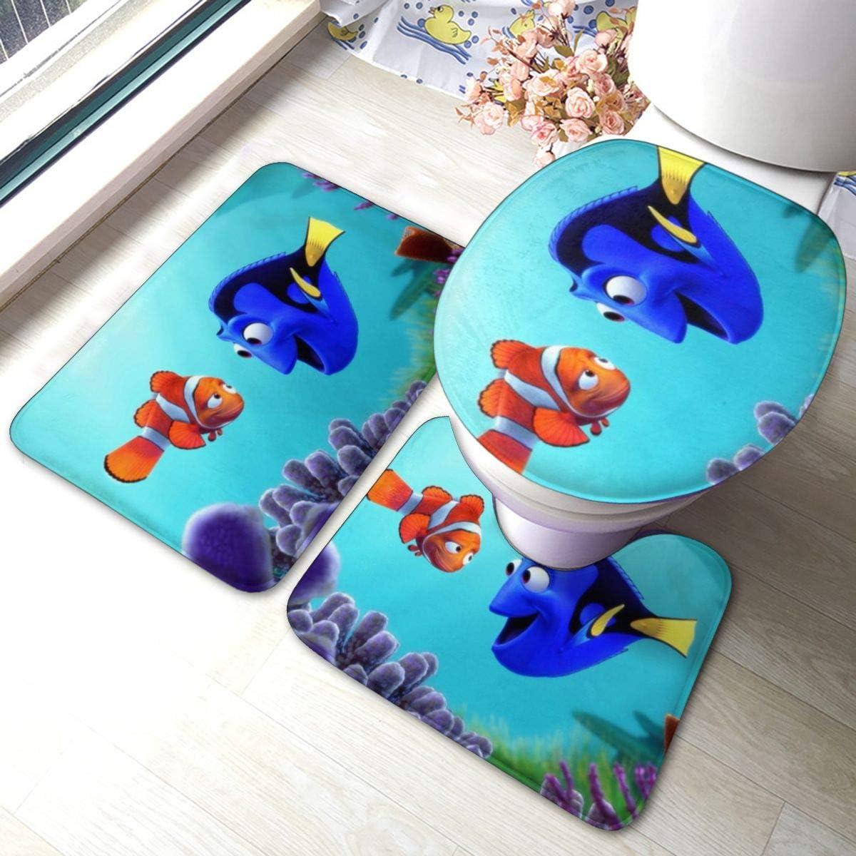 Finding Ne-mo Colorful Non Slip Bathroom Rug Set 3 Piece Anti-Skid Bath Mat 15.7 Inches X 23.6 Inches Type U Contour Rug Toilet Lid Cover Mat