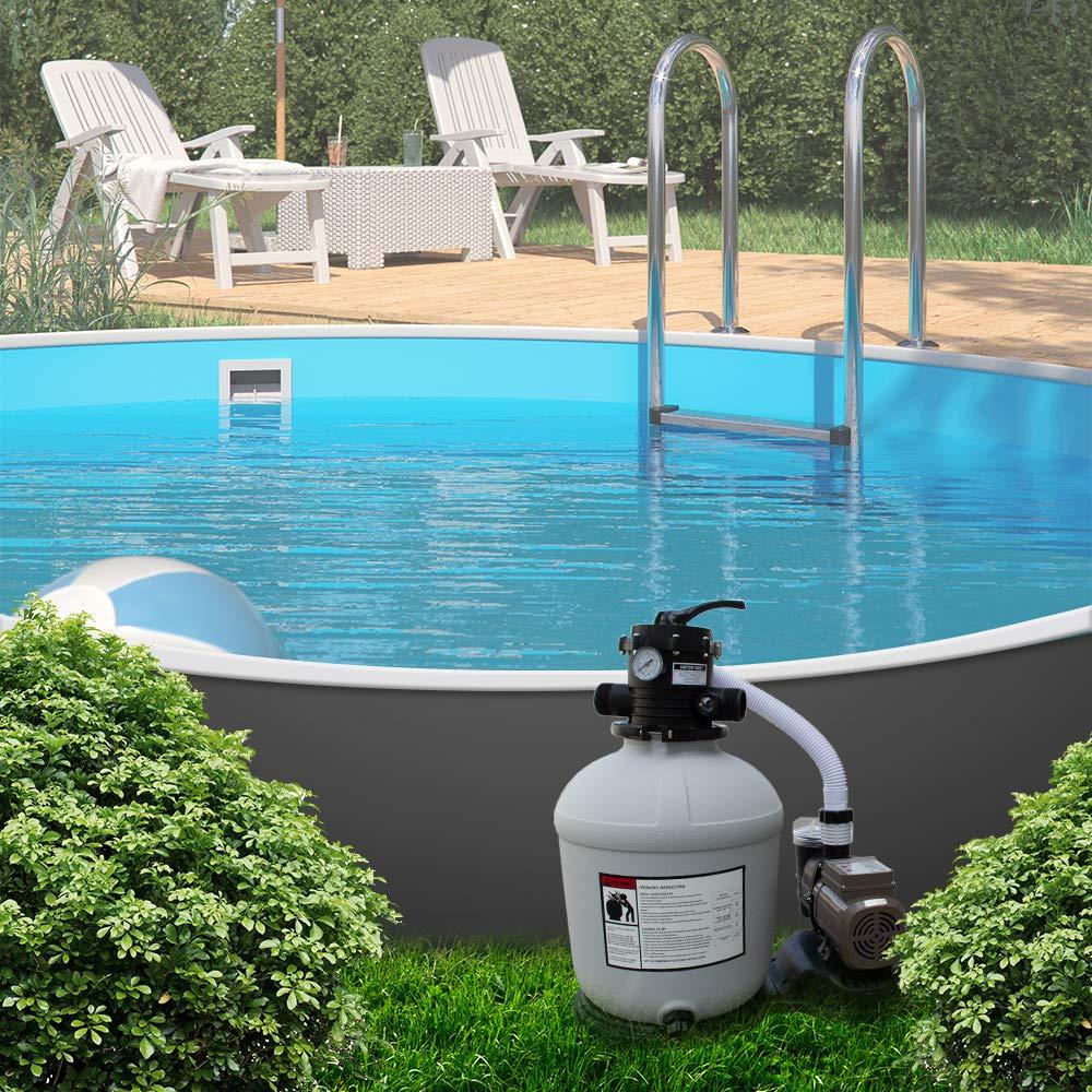 OSKAR Sandfilteranlage Sandfilter Zeitschaltuhr 24h Timer 13,2m/³ Poolfilter Pool Pumpe