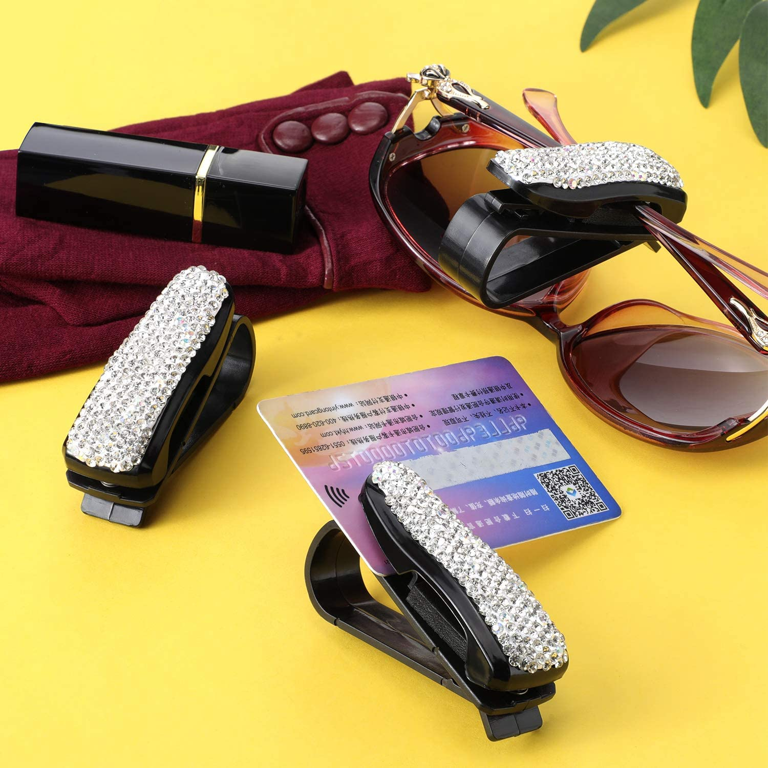 Boao 6 Pieces Glass Holders Crystal Rhinestones Car Sunglasses Clip Holders Car Eyeglasses Clip for Car Sun Visor Car Accessories Supplies