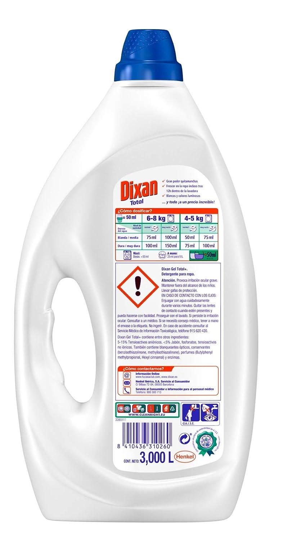 Dixan Detergente Líquido Total - 60 Lavados (3 L): Amazon.es ...