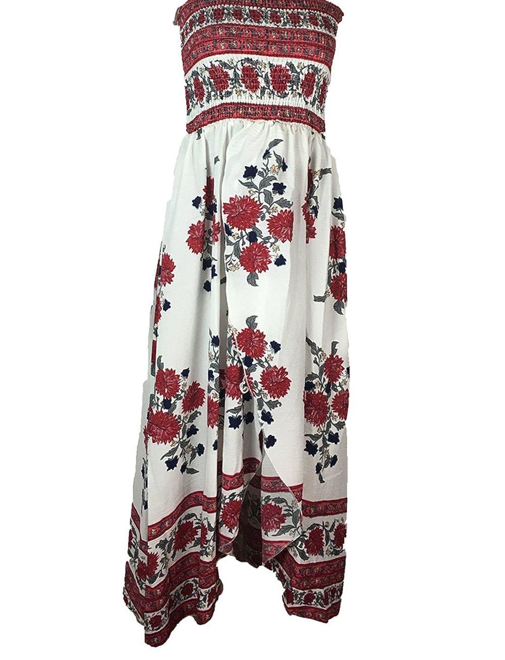 1772b4fbae9 Winfon Femme Robe d été Chic Robe été Imprimé Floral Sexy Boho Épaules Nue  Robe Bustier Plage Longue  Amazon.fr  Vêtements et accessoires