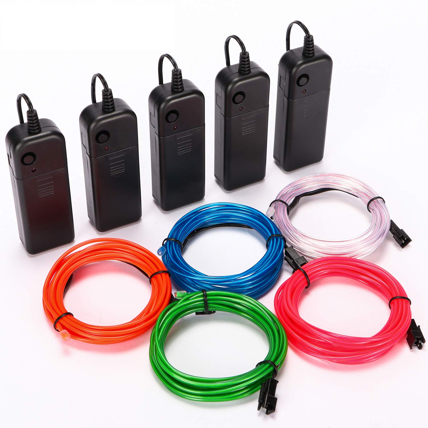 WAPIKE EL Wire Kit 10ft,Portable Neon Lights for Parties-Five Colors to Choose from(Red, Green, Pink, Blue, White) White)