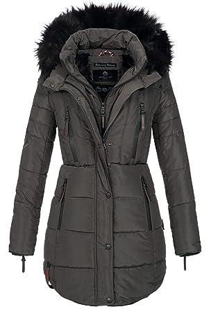 Marikoo Warme Damen Winter Jacke Winterjacke Parka Stepp Mantel Lang