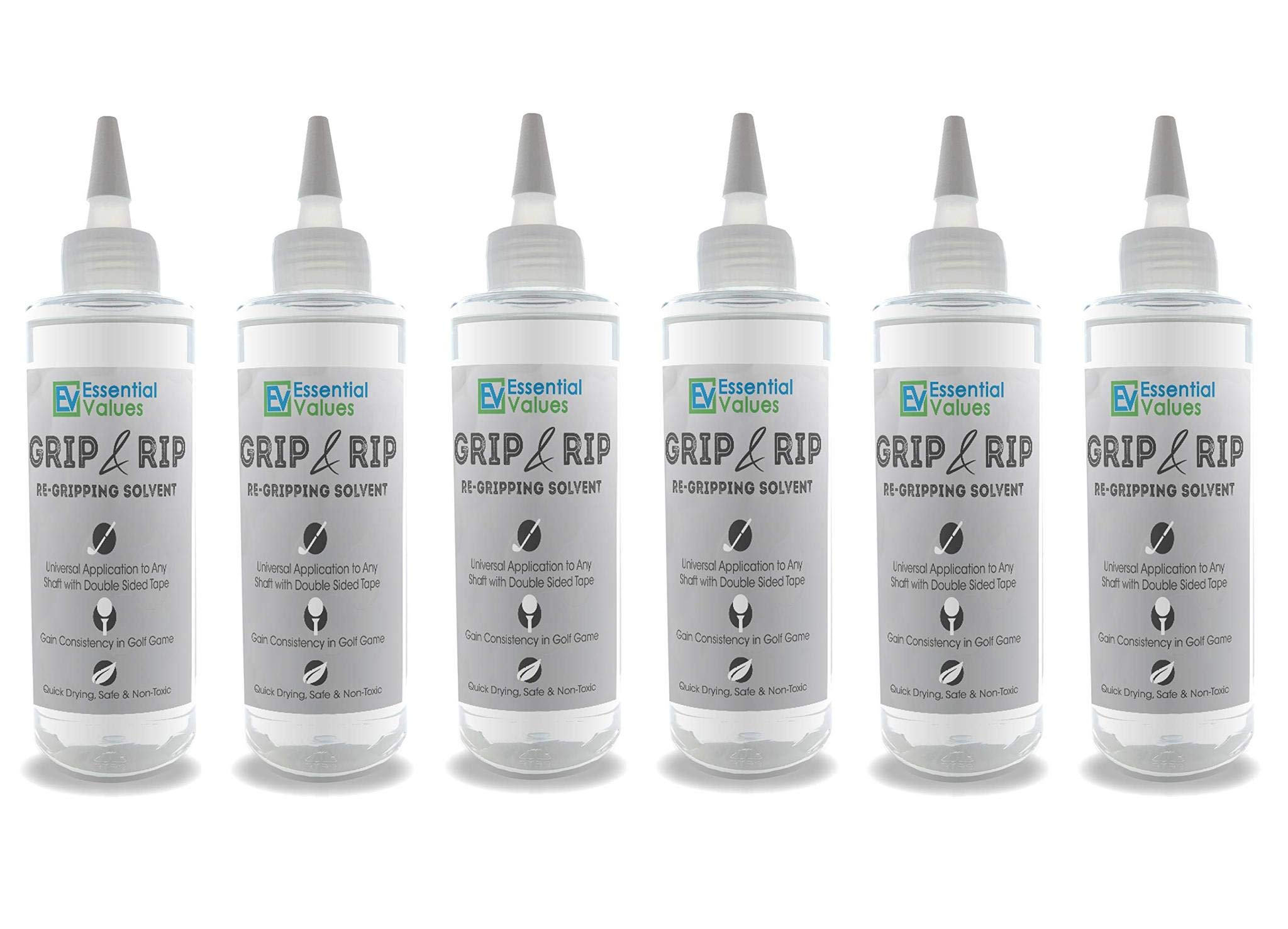 Essential Values 6 Pack Golf Regripping Solvent (8 Fl Oz), Double The Solution Compared to Others - Excellent for Quick & Easy Regripping of Golf Clubs - Made in USA by Essential Values