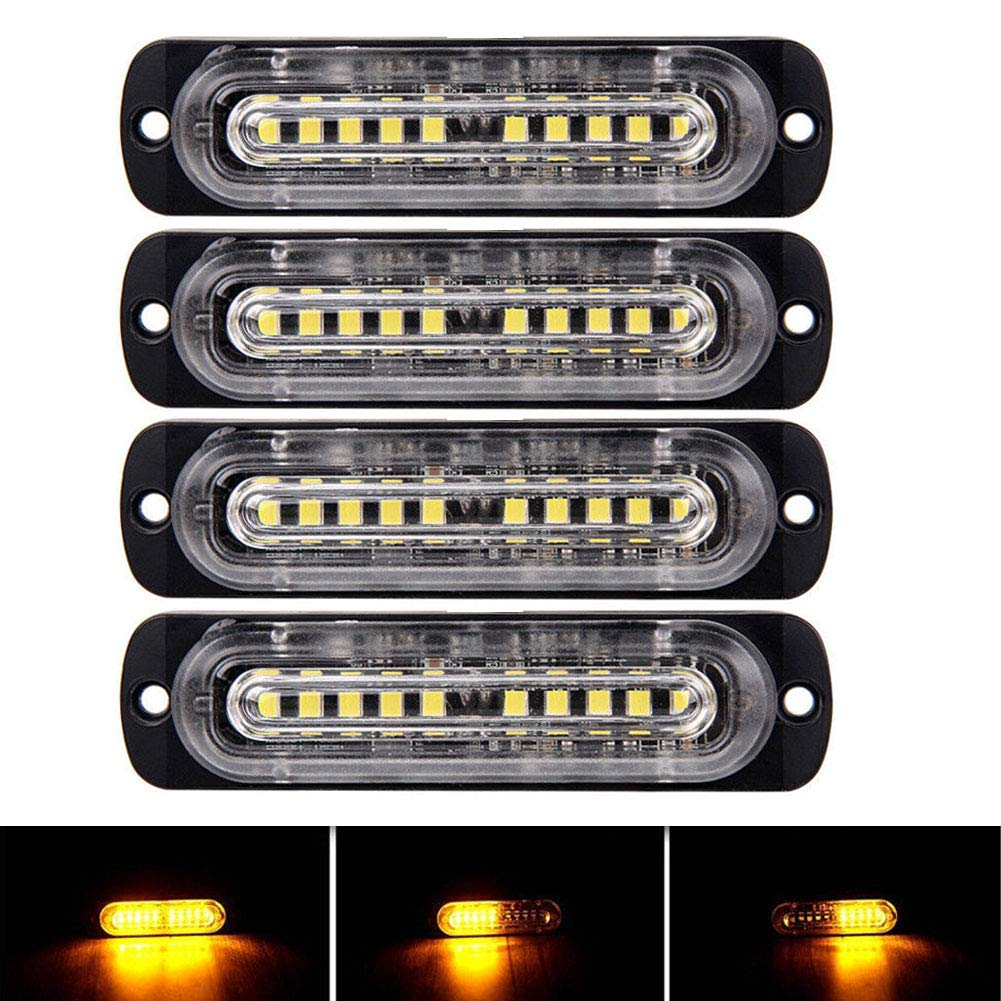 PME 4-LED Waterproof Emergency Beacon Flash Caution RED Strobe Light Bar for Car SUV Pickup Truck Jeep 2 PACK