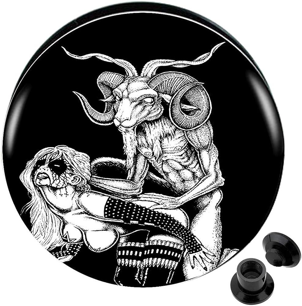 2g (6mm) to 1 3/16 (30mm) Acrylic Logo Internally Threaded Screw fit Flesh Tunnels (1 Pair)