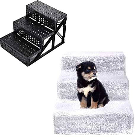 3 Step Soft Pet Stairs For Small Dogs And Pets Portable Step (White)