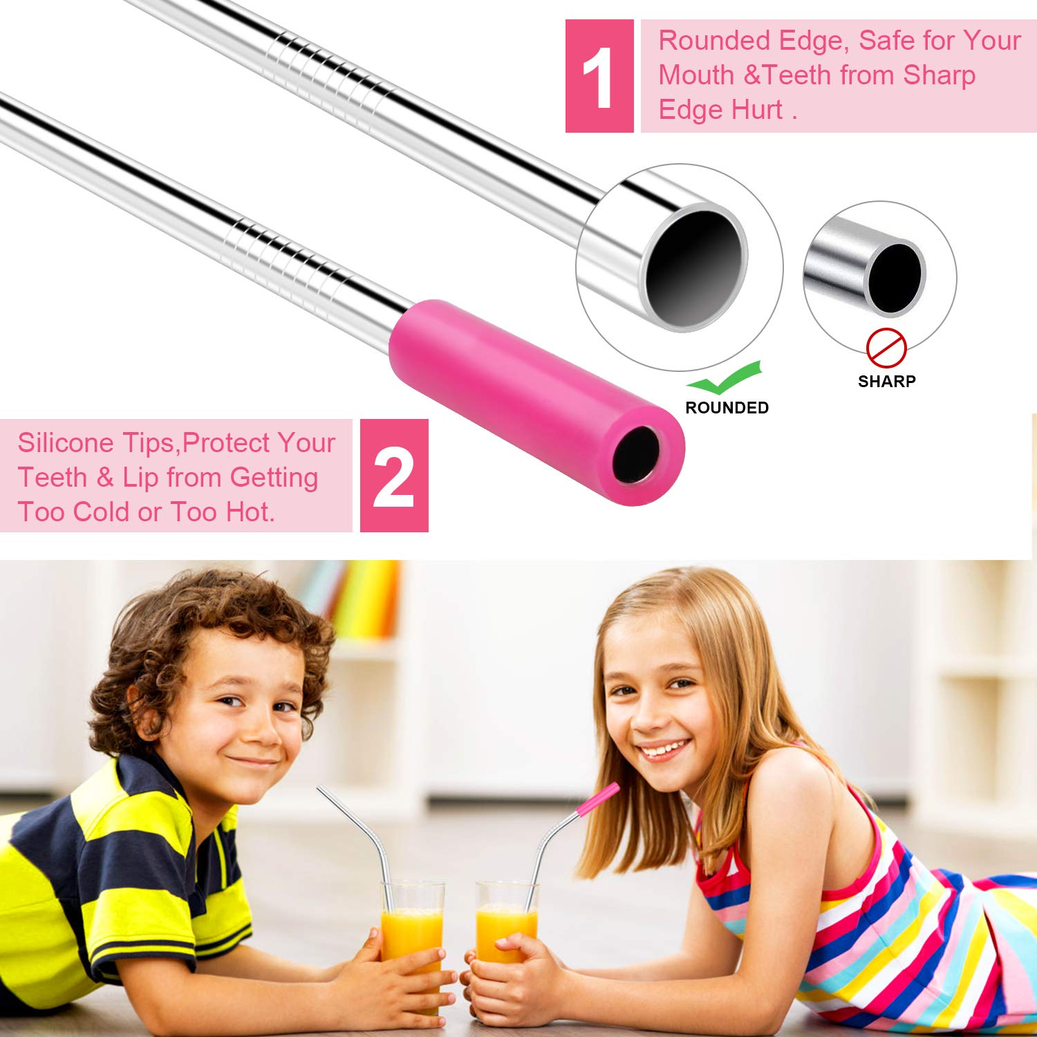 Stainless Steel Straws, GDREAMT Set of 14 Reusable Drinking Straws Ultra Long 10.5\