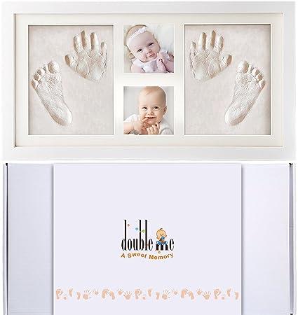 Doubleme Kit de Marco de Huellas de Manos y Pies del Bebé, Regalos Memorables para el Recién Nacido y los Gemelos, Marco de Madera con Arcillas ...
