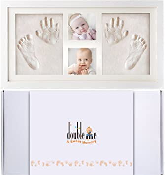 Doubleme Baby Bilderrahmen Fur Handabdruck Und Fussabdruck Echtholz