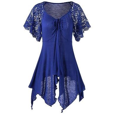 da2b80328c814 Blouse T-Shirts Femme,💋LuckyGirls Femme Dentelle Haut Femme Grande Taille  Blouse Femme