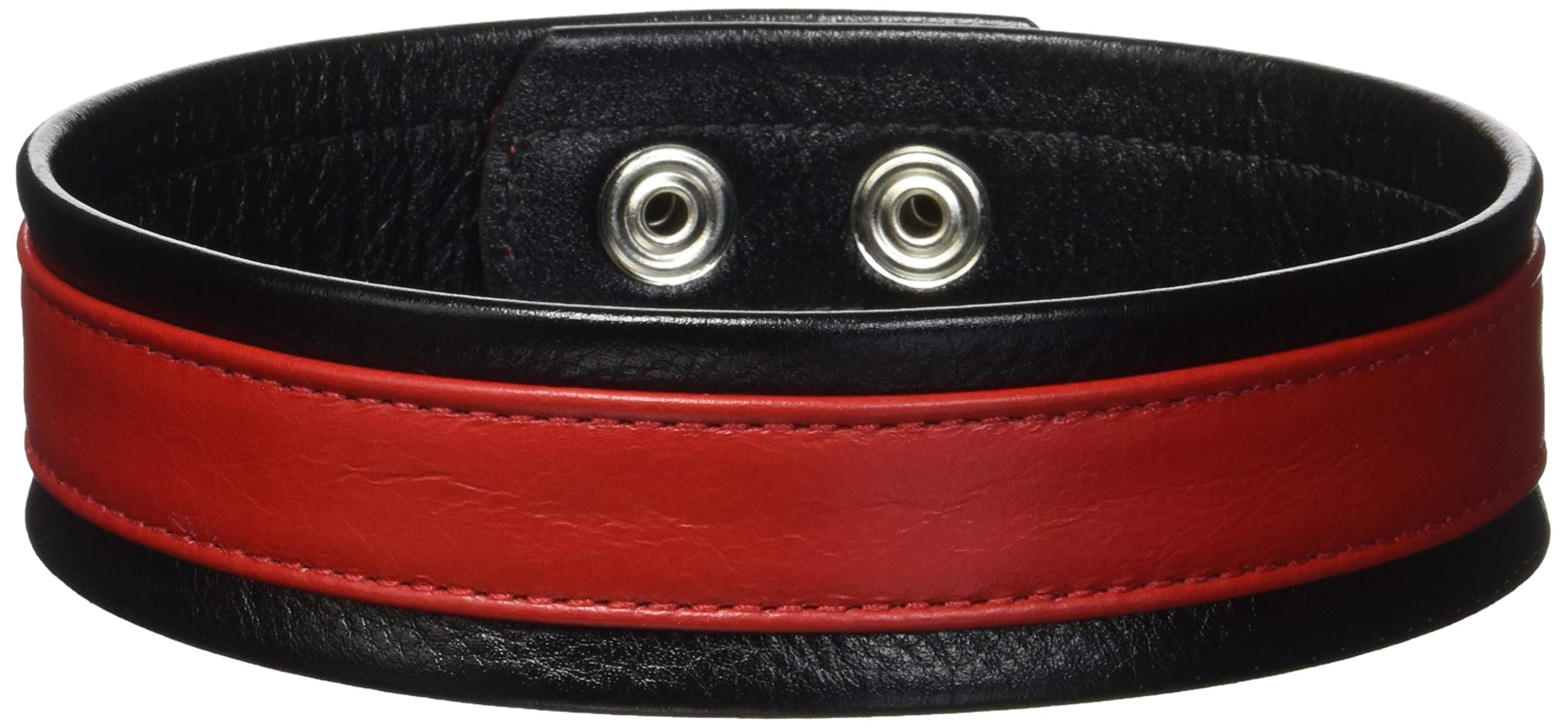 Heart 2 Heart Armband Leather, Black/Red, Large