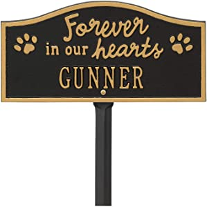 Whitehall Personalized Pet Memorial Yard Sign - Custom Cast Aluminum Forever in Our Hearts Paw Print Dog or Cat Remembrance Garden Stake Grave Marker