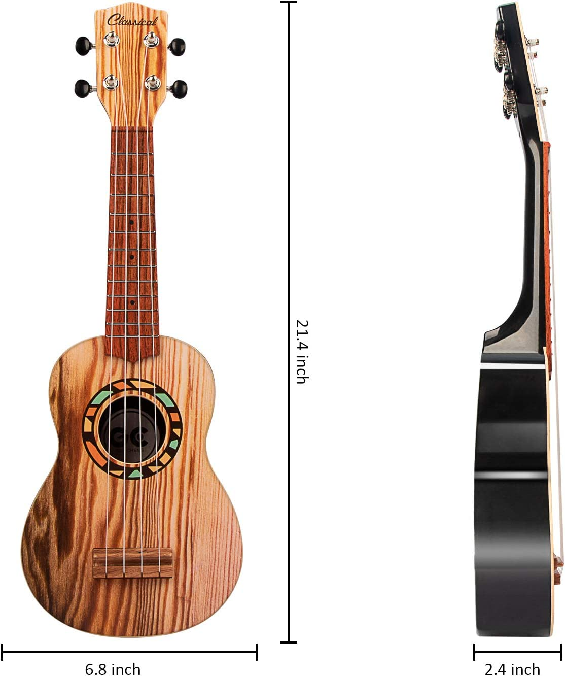 21 Inch LeQi Kids Toy Ukulele Guitar for Toddller 4 Strings Children Musical Instruments Educational Toys with The Picks and Strap for Beginner Starter