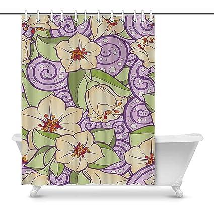 Amazon INTERESTPRINT Stylized Flowers Purple Art Decor Print