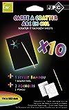 JPC Pqt 10 cartes à gratter arc en ciel format 10x15cm avec 2 pochoirs et stylet bambou