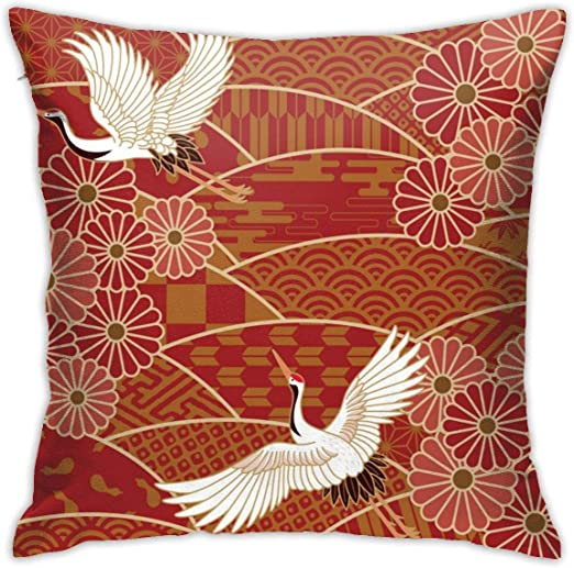 Bird Two Cranes Chrysanthemums Japanese Traditional Wave Beige Japan Oriental Throw Pillow Covers Decorative 18x18 Inch Pillowcase Square Cushion Cases For Home Sofa Bedroom Livingroom Home Kitchen