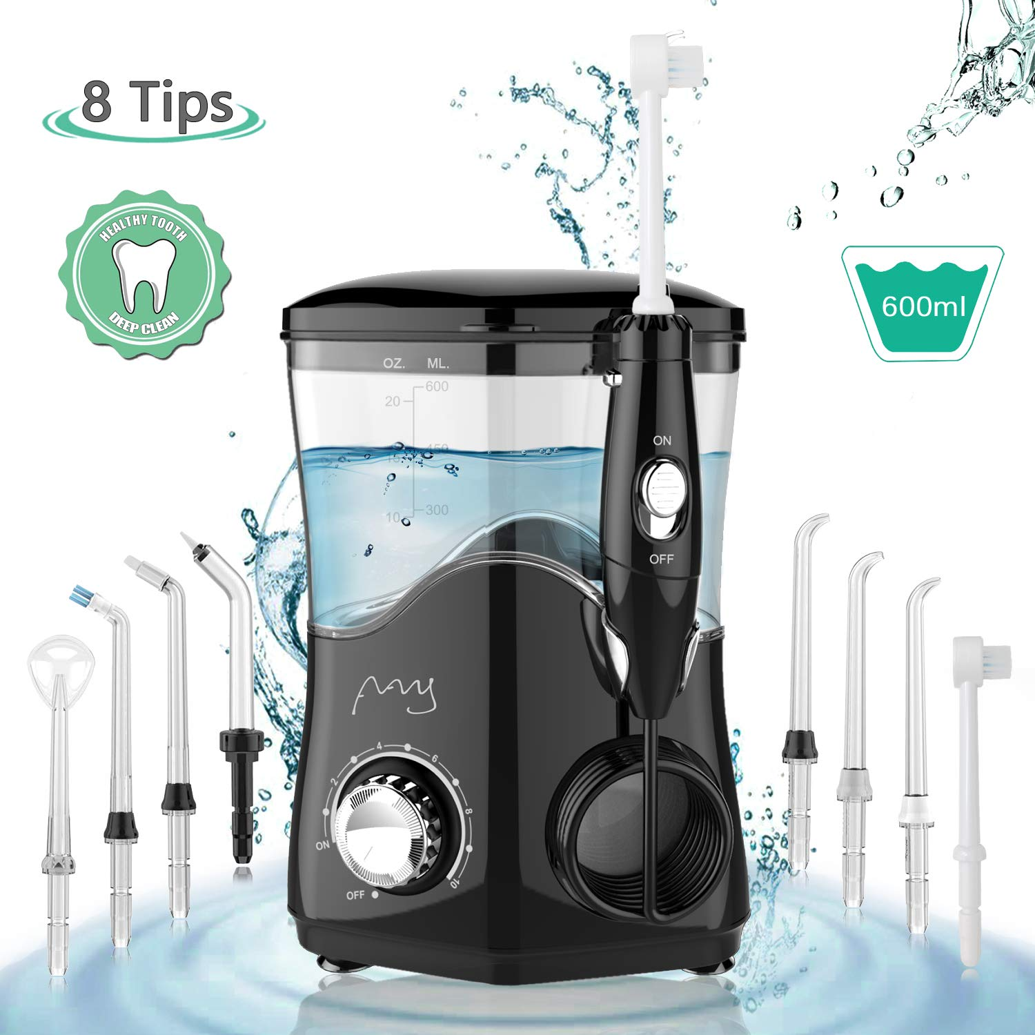 Dental Water Flosser, Water Pick Teeth Cleaner Professional 600ml Electric Oral Irrigator Countertop with 8 Multifunctional Tips 10 Adjustable Pressures for Tooth Braces Care Home