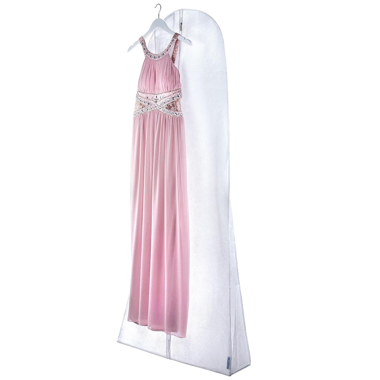 Hangerworld Funda para Vestido de Novia 183cm Nuevo Diseño Floral Transpirable Anti-Polvo Blanco