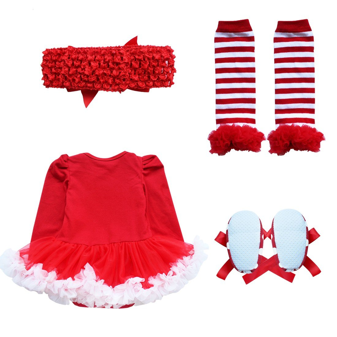 YiZYiF Baby Infant Girls 1st Christmas Costume Tutu Romper Dress ...