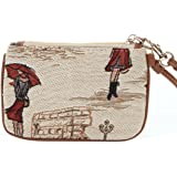 Signare Fashion Canvas Tapestry Coin Purse Wristlet in Miss London Design