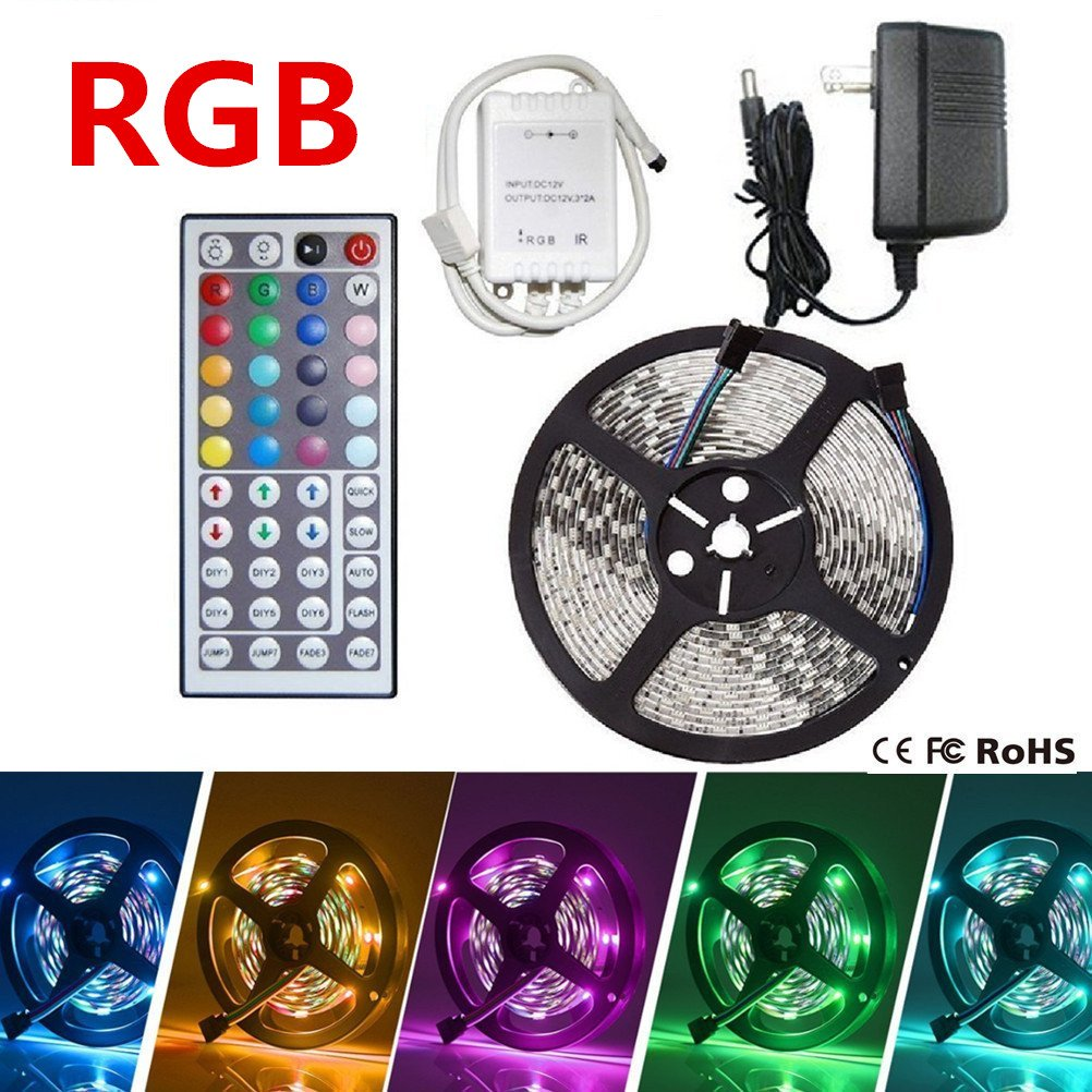 LED Strip Lights, Flexible Strip Lights, eBoTrade 16.4ft 300leds 5m Waterproof RGB Color Changing SMD 3528 Adhesive Light Strip with 44key Remote + Power Supply