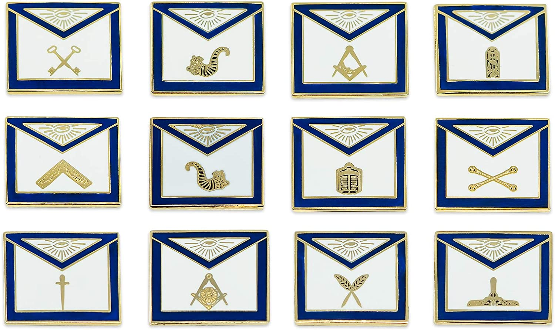 Officer Apron (Set of 12 Pins) Masonic Lapel Pin - [Blue & White][3/4'' Wide]