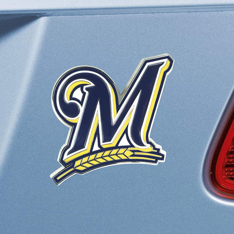 Inc Milwaukee Brewers Premium Raised Solid Metal Color Chrome Auto Emblem Decal Badge Baseball Rico Industries