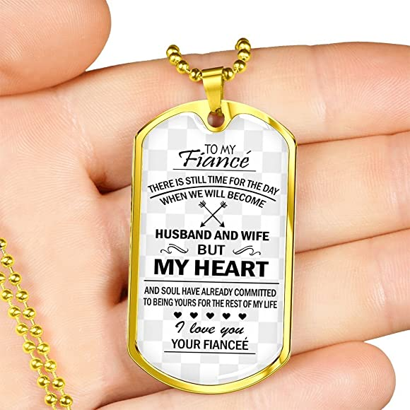 3af388970c eConvenience Store To My Fiance Dog Tag Necklace Husband And Wife Gift  Jewelry Military Stainless Chains