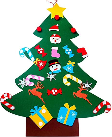 Weihnachtsspiel Home T/ür Wand Dekoration Weihnachtsfeier Banner F/ür Weihnachten Geschenk Wand Dekoration Filz Weihnachtsbaum Set F/ür Kinder mit Ornamenten Gyvazla 43 Pcs DIY Filz Weihnachtsbaum