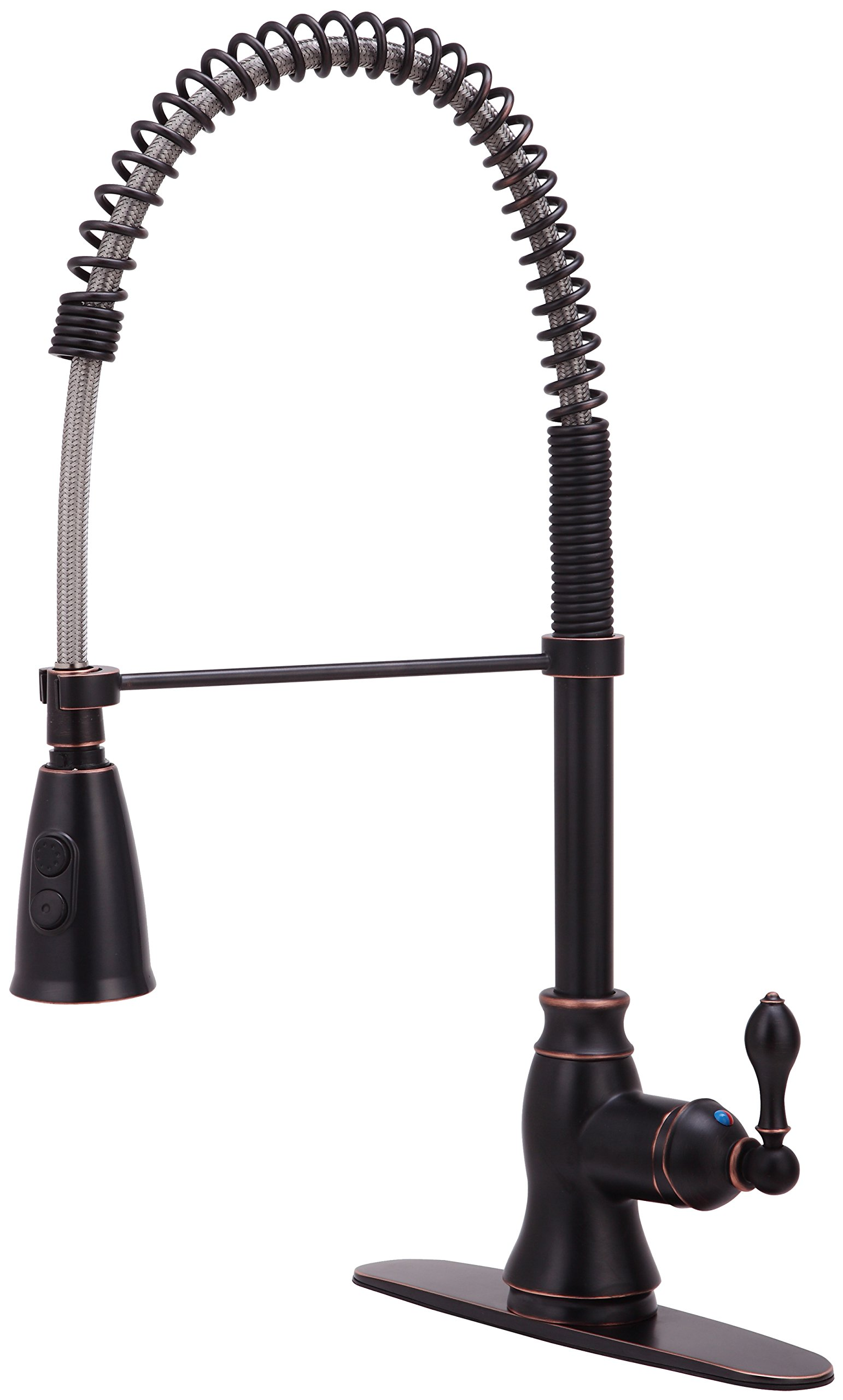 Derengge KF-5988-NB Single Handle Spring Spout Kitchen Faucet with Pull-Down Sprayer, 1 Hole or 3 Hole Installation, Meets cUPC NSF61-9 and AB1953 Lead Free Standard, Oil Rubbed Bronze by Derengge