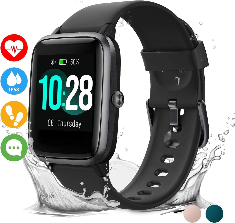 Vigorun Smartwatch Reloj Inteligente Hombre Mujer Niños Impermeable IP68 10 Días Autonomía Pulsera Actividad con Pulsómetro Podómetro Control de Música Monitor de Sueño Smartwatch para Android iOS