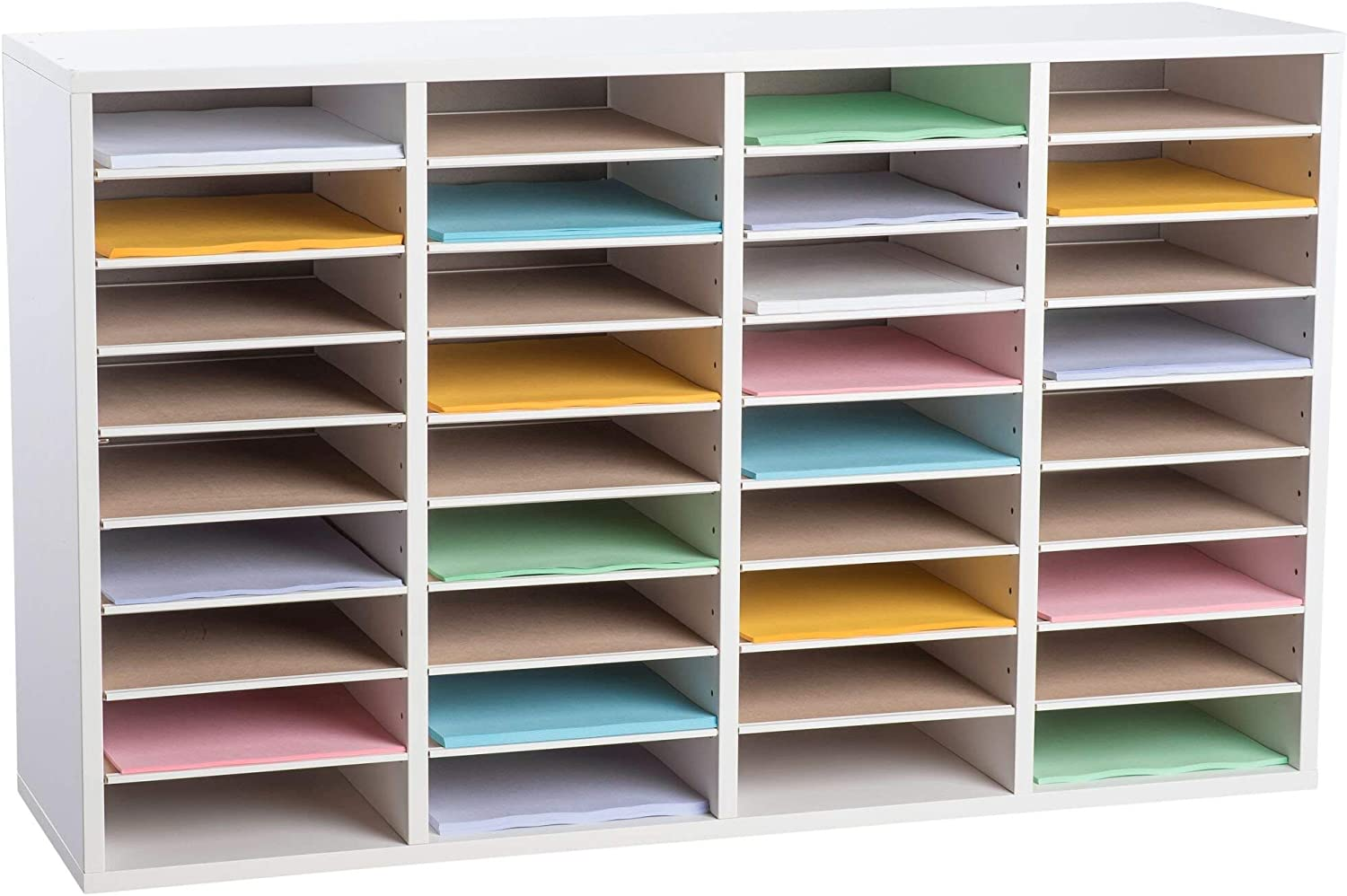 AdirOffice Wood Adjustable Literature Organizer - Removable Shelves - Heavy Duty Stackable Literature Organizer - Great for Office, Classrooms and Mail Rooms (36 Compartment, White)