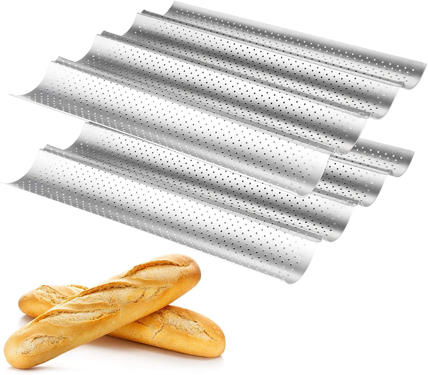 Baguette pans for baking 2 Pack, WERTIOO Nonstick French Bread Pan 15
