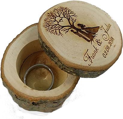 Anillo almohada para Boda de madera Funda para alianzas o anillos ...